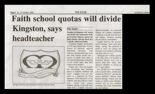 faith school quotas story