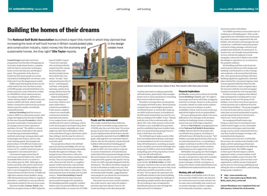 Self Building report from Sustainable Building January 2009