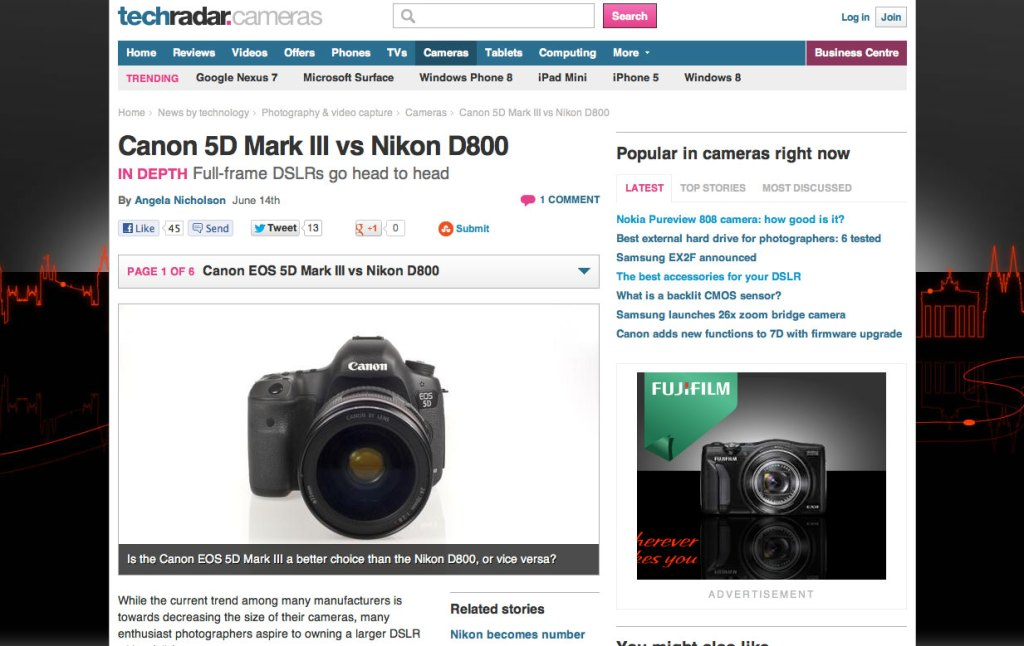TechRadar Nikon D800 vs Canon 5D feature