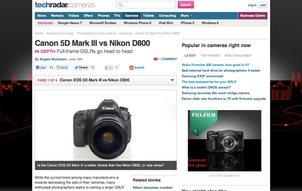 TechRadar Nikon D800 vs Canon 5D feature