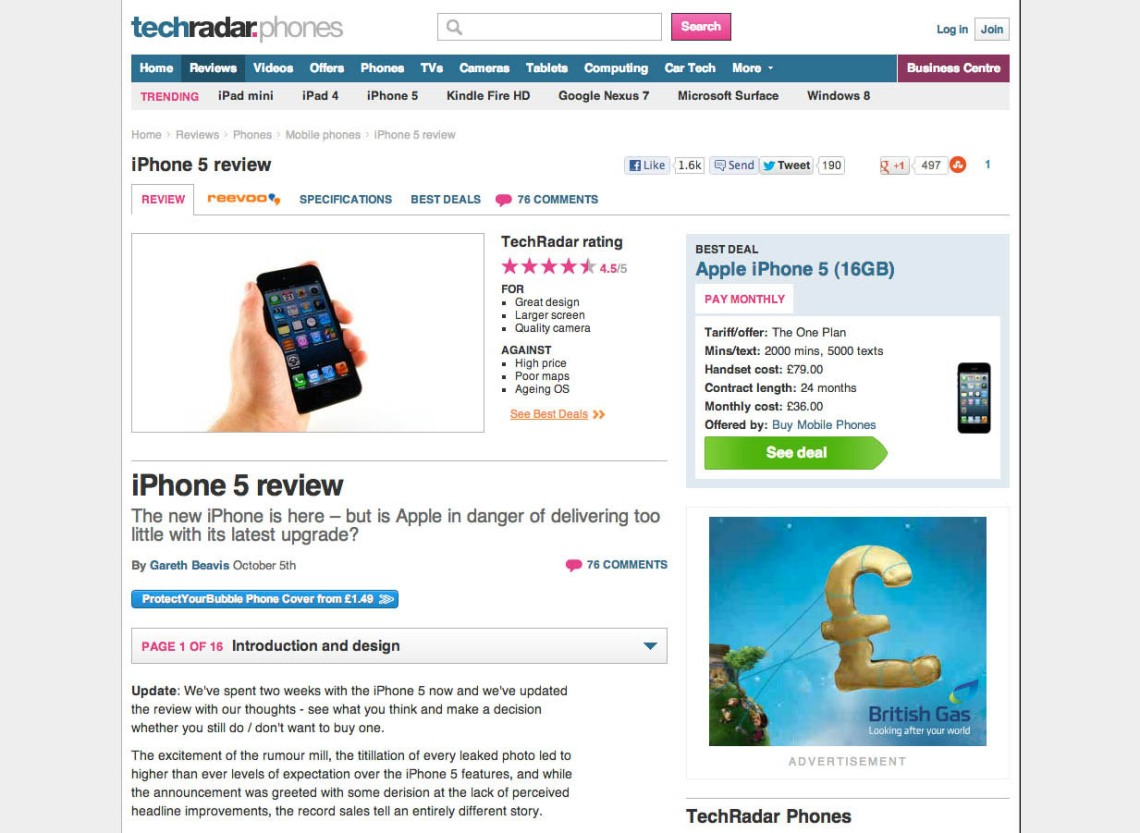 TechRadar iPhone 5 review